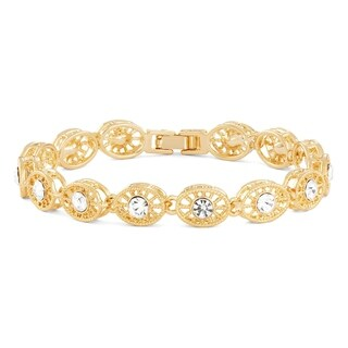 Isla Simone 14K Gold Plated Wheel Pattern Bracelet with Round White Crystals