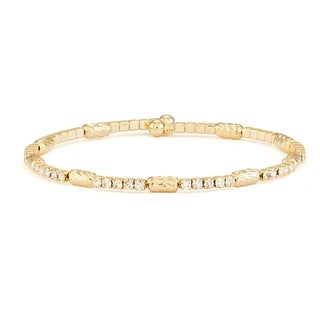 Isla Simone 14K Yellow Gold Plated Flex Bangle Bracelet with White Crystals and Spiral Beads