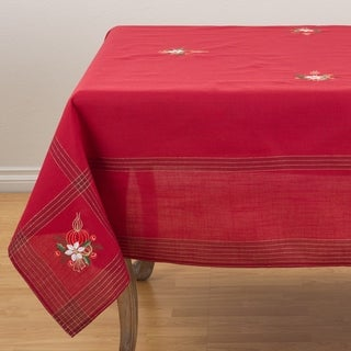 Embroidered Holly Leaf And Candle Holiday Design Tablecloth