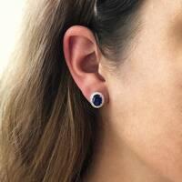 14K White Gold 8x6 mm Oval Cut - Natural Corundum Blue Sapphire Earrings