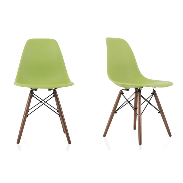 CozyBlock Set of 2 Molded Green Plastic Dining Shell Chair with Dark