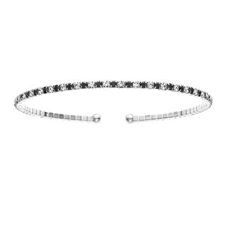 White Rhodium Plated Open Flex Bangle Bracelet with White and Jet Black Crystals - Silver
