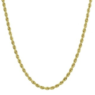 Mondevio 14K Gold 1.8mm Twist Hollow Rope Chain Male or Female Necklace, 16 Inches