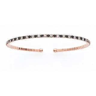 14K Rose Gold Plated Open Flex Bangle Bracelet with White and Jet Black Crystals - Pink