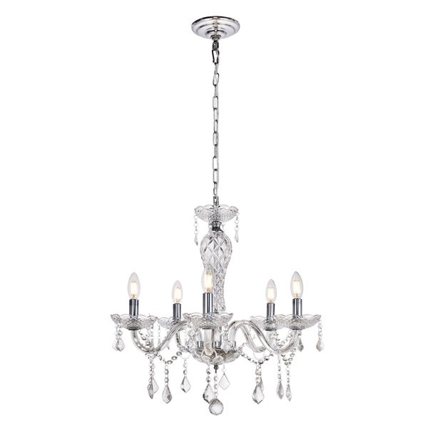 Valencia Collection Chandelier D23 H22 Lt:5 Chrome Finish