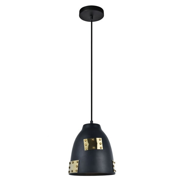 Finn Collection Pendant D8.1 H9.1 Lt:1 Matte Black and Gold Finish