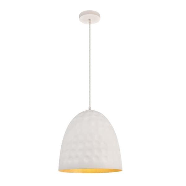 Clio Collection Pendant D11.8 H12.8 Lt:1 Outside White and Inside Gold Leaf Finish