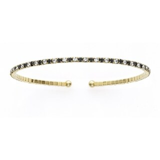 14K Yellow Gold Plated Open Flex Bangle Bracelet with White and Jet Black Crystals