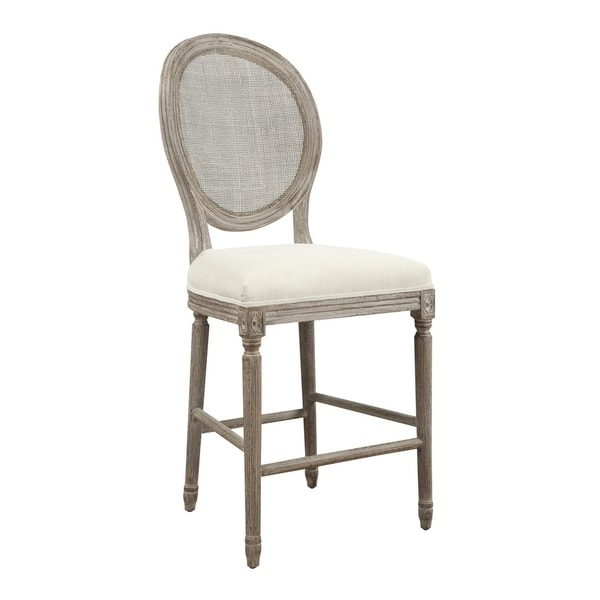 "Salerno Sand Gray 24"" Bar Stool with Upholstered Seat, Carved Legs, And Rattan Back, Set of Two"