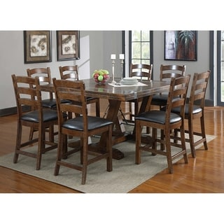 """Emerald Home Castlegate Pine Brown 60"""" Gathering Height Dining Table with Pieced, Plank Style Top And Metal Bracing"""