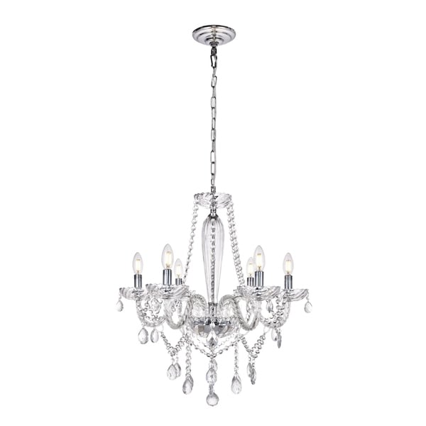 Verdi Collection Chandelier D24 H26 Lt:6 Chrome Finish