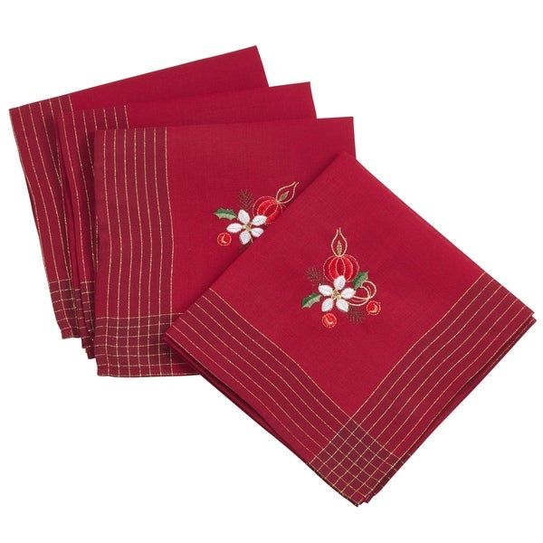 Embroidered Holly Leaf And Candle Holiday Design Napkin - set of 4 pcs