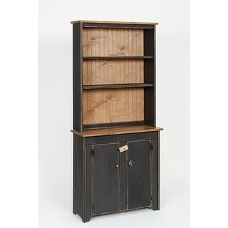 Primitive Rustic Country Wooden Hutch with Shelves and Cabinet