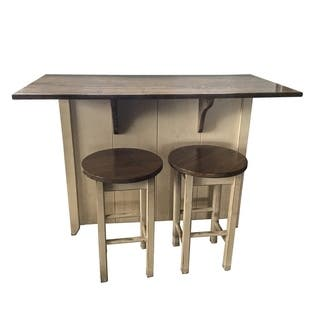 Country Wooden Counter Height Kitchen Island With Stools