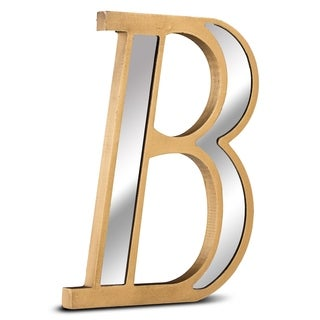 American Art Decor Gold Wall Letter with Acrylic Mirrors Hanging Initial B