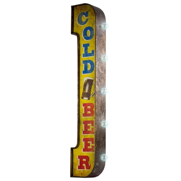 American Art Decor Cold Beer Vintage Bar Decor Distressed Metal LED Sign Marquee Light