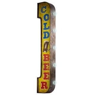Cold Beer Vintage Bar Decor Distressed Metal LED Sign Marquee Light