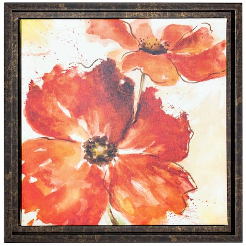 American Art Decor Sunshiny Day II Framed Poppy Flower Still Life Wrapped Canvas Painting Print Wall Art Decor