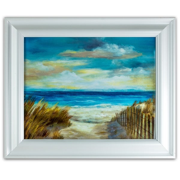 a5044e16632 American Art Decor Framed Oceanside Beach Canvas Painting Print Wall Art  Decor