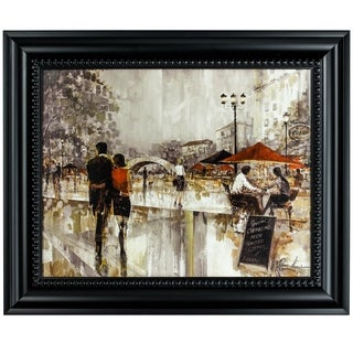"""Riverwalk Charm"" Framed Impressionism Canvas Painting Print Wall Art Décor"