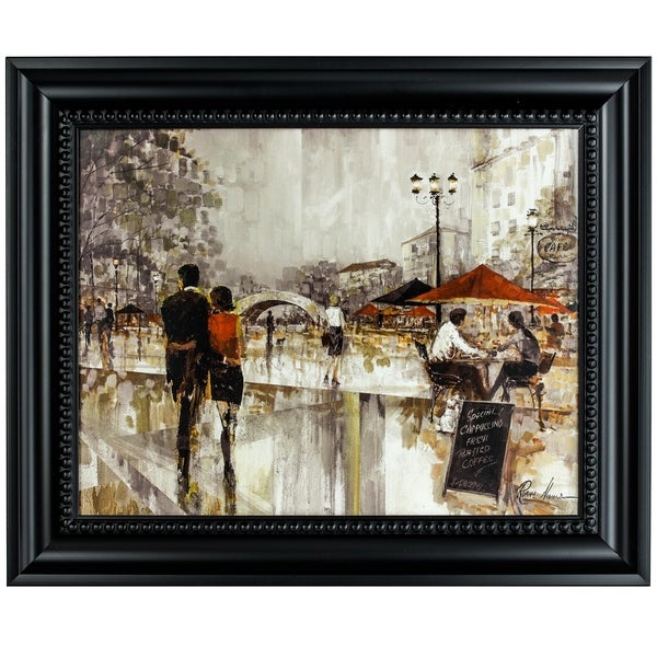 "DISCONTINUED - American Art Decor ""Riverwalk Charm"" Framed Impressionism Canvas Painting Print Wall Art"