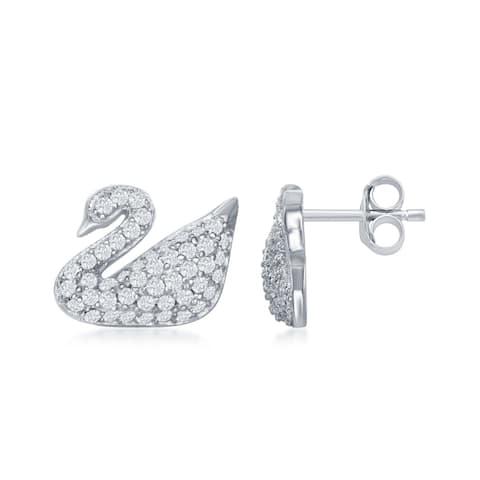 La Preciosa Sterling Silver High Polish Pave Cubic Zirconia Swan Earrrings