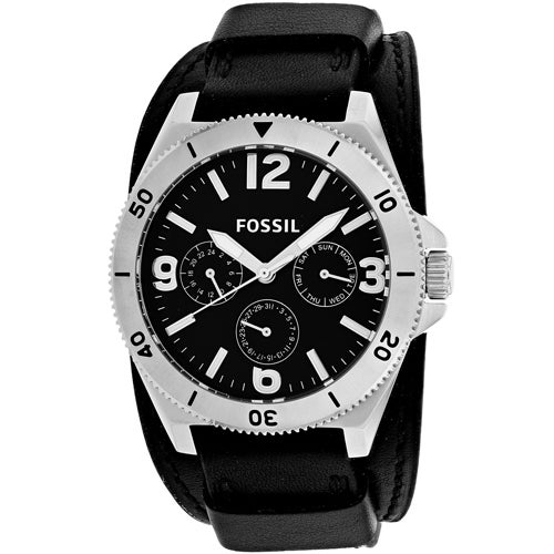 cca1e4abaf3 Shop Fossil Men s Murray Multi-Function Black Dial Black Leather Watch -  Free Shipping Today - Overstock - 18058289