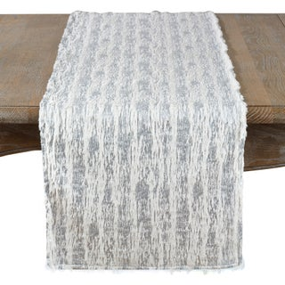 Faux Fur With Brushed Metallic Foil Print Runner (Option: Silver)