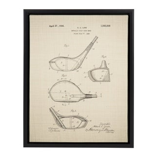 Sylvie Golf Club Patent 14x18 Framed Canvas Wall Art