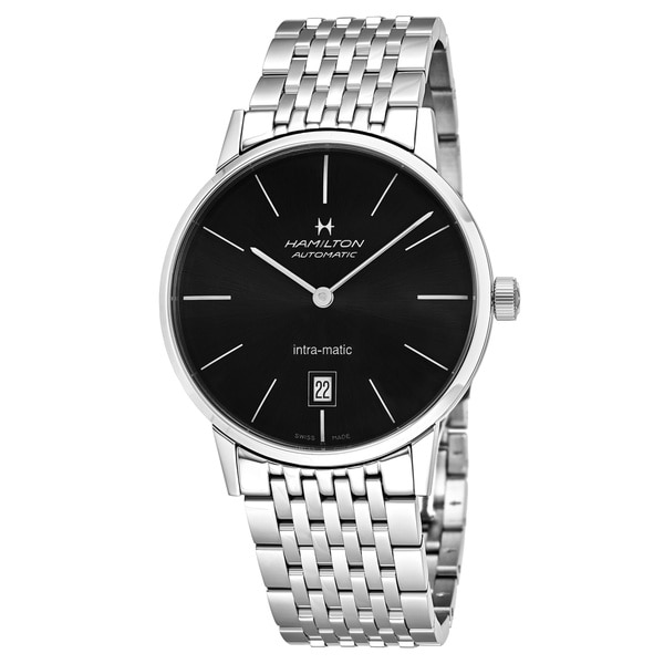 8ab2d9ce17f Shop Hamilton Men s  Timeless Class  Black Dial Stainless Steel ...