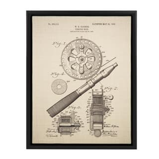 Sylvie Glocker Fishing Reel Patent 14x18 Framed Canvas Wall Art