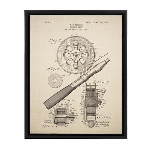 Sylvie Glocker Fishing Reel Patent 14x18 Framed Canvas Wall Art