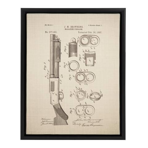 Sylvie Browning Firearm Magazine Patent 14x18 Framed Canvas Wall Art
