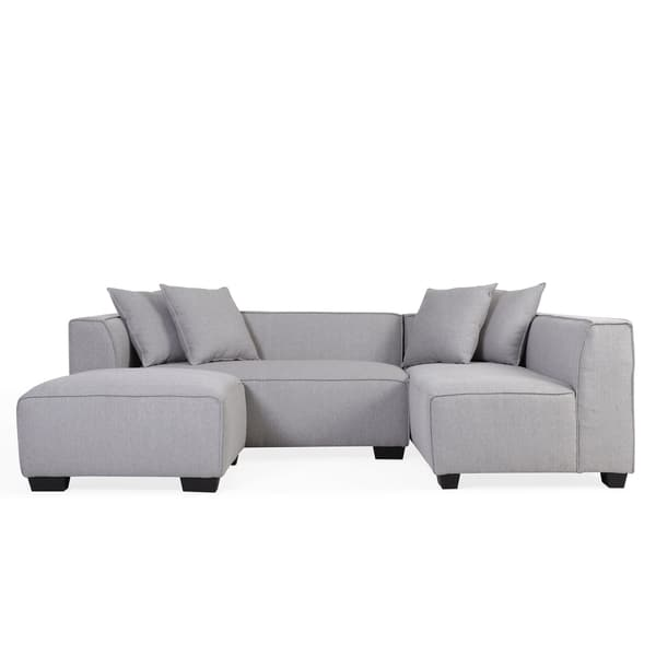 Enjoyable Shop Handy Living Phoenix Grey Sectional Sofa With Ottoman Caraccident5 Cool Chair Designs And Ideas Caraccident5Info