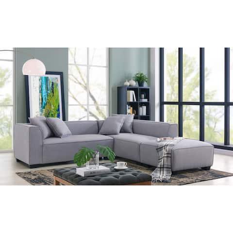 Handy Living Phoenix Grey Sectional Sofa with Ottoman