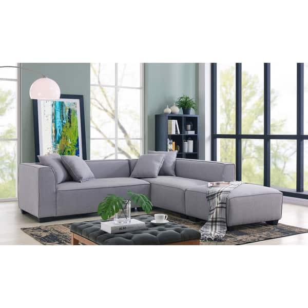 Shop Handy Living Phoenix Grey Sectional Sofa with Ottoman ...