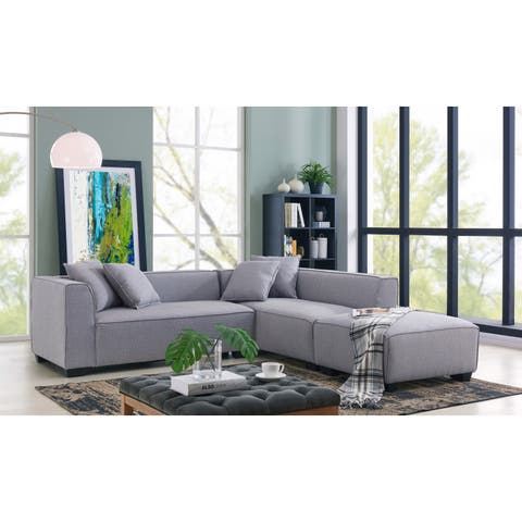 Handy Living Phoenix Grey Sectional Sofa with Ottoman