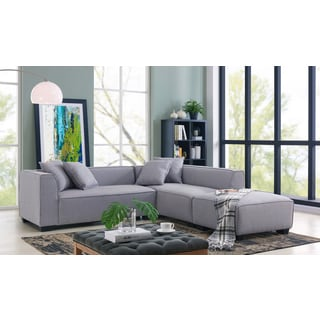 Handy Living Phoenix Grey Sectional Sofa with Ottoman (Option Grey)  sc 1 st  Overstock.com : grey sectional - Sectionals, Sofas & Couches