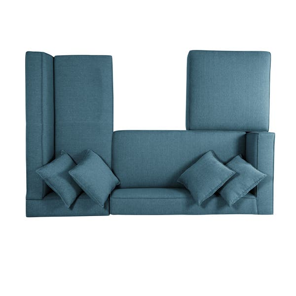 Brilliant Shop Handy Living Phoenix Blue Sectional Sofa With Ottoman Gamerscity Chair Design For Home Gamerscityorg