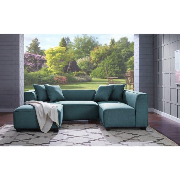 Shop Handy Living Phoenix Blue Sectional Sofa with Ottoman ...