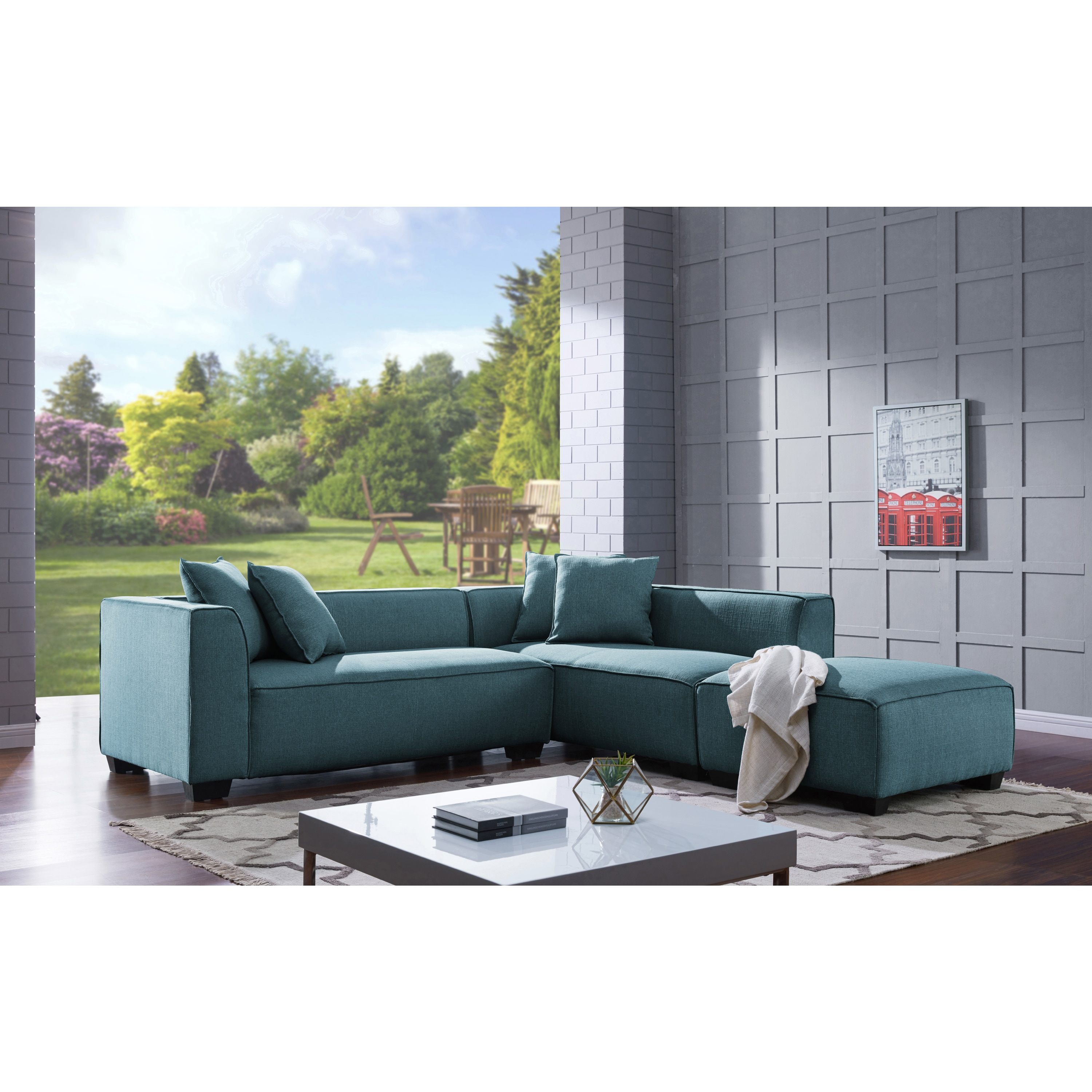 Picture of: Handy Living Phoenix Blue Sectional Sofa With Ottoman Overstock 18058315