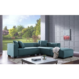 Handy Living Phoenix Blue Sectional Sofa with Ottoman