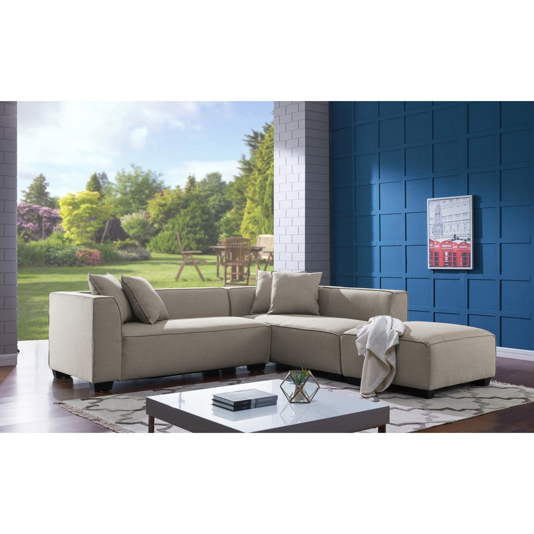 Cool Handy Living Phoenix Barley Tan Sectional Sofa With Ottoman Spiritservingveterans Wood Chair Design Ideas Spiritservingveteransorg