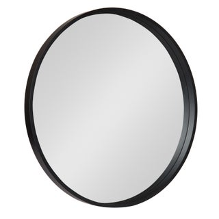 """Kate and Laurel Travis Round Wood Accent Wall Mirror, 25.6"""" Diameter, Gold"""