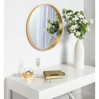 "Kate and Laurel Travis Round Wood Accent Wall Mirror, 25.6"" Diameter, Gold"