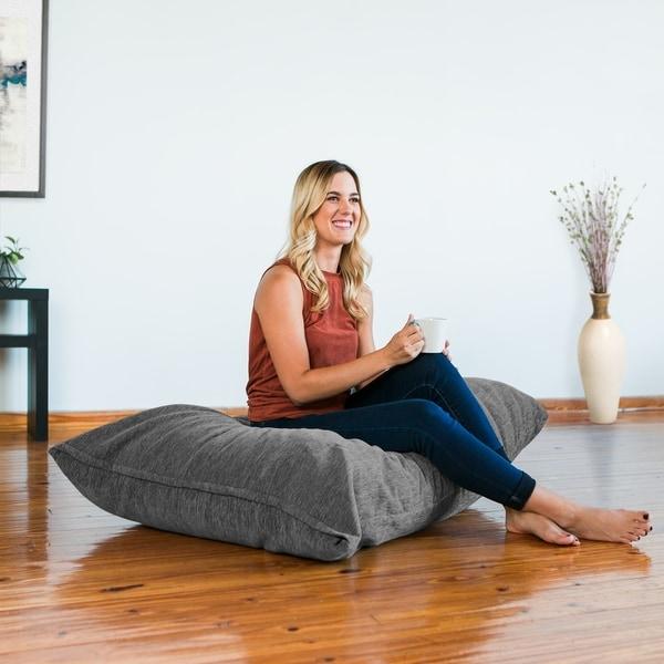 Jaxx 3.5' Floor Pillow Bean Bag Lounger with Chenille Cover