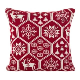Holiday Fair Isle Design Accent Cushion Poly Filled Throw Pillow