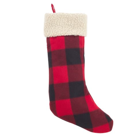 Classic Red and Black Buffalo Plaid Stocking with Sherpa Cuff