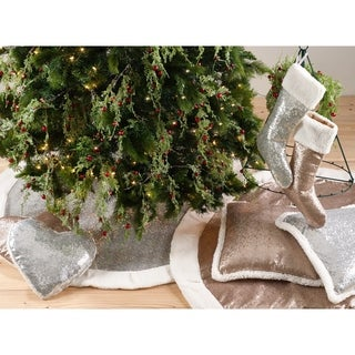 Glittery Sequin With Sherpa Cuff Holiday Stocking