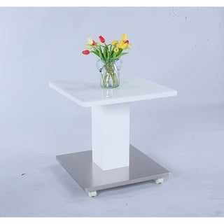 Somette Presley Pedestal Lamp Table with Glass Inset